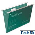 Rexel Crystalfile Foolscap Suspension File Green V-base 15mm Pack 50