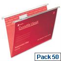Rexel Crystalfile Foolscap Suspension File Red V-base 15mm Pack 50