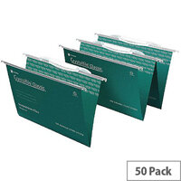 Rexel Crystalfile Classic Green A4 Suspension File Pack of 50