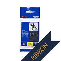 Brother TZeRN34 Gold on Nvay Blue Ribbon Label Tape 12mm