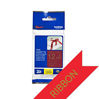 Brother TZeRW34 Gold on Wine Red Ribbon Label Tape 12mm