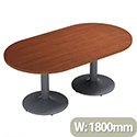 Double D-End 1800mm Wide Eco Walnut Boardroom Table With Silver Metal Base
