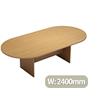 D-End Beech Boardroom Table 2400mm Wide With Panel End Base
