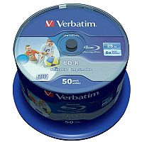 Verbatim Blu-ray BD-R Datalife 25GB 6x wide Inkjet Printable 50 pack Spindle 43812
