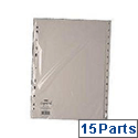 Index A4 1-15 Part Polypropylene White Subject Dividers WX01355