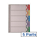 A4 Mylar Index 1-5 Part Multi-Colour Subject Dividers WX01518