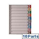 A4 Mylar Index 1-10 Multi-Colour WX01519