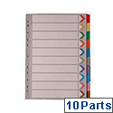 A4 Mylar Divider 10-Part Multi-Colour WX01526