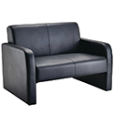 Arista Leather Look Reception Sofa Black