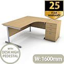 Ashford 1600mm Right Hand Radial Office Desk Metal Leg With FREE Desk High Pedestal BEECH