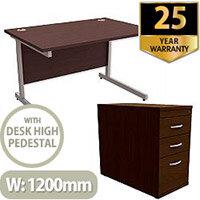 Office Desk Rectangular Silver Legs W1200mm With 800mm Deep Desk High Pedestal Dark Walnut Ashford