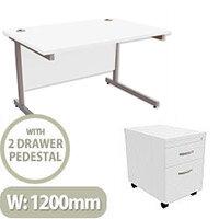 Office Desk Rectangular Silver Legs W1200mm With Mobile 2-Drawer Pedestal White Ashford