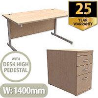 Office Desk Rectangular Silver Legs W1400mm With 800mm Deep Desk High Pedestal Maple Ashford