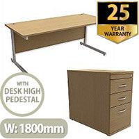 Office Desk Rectangular Silver Legs W1800mm With 800mm Deep Desk High Pedestal Urban Oak Ashford