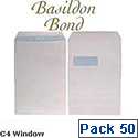 Basildon Bond C4 White Window Envelopes Pocket Peel and Seal Recycled Pack 50 Ref  B80285