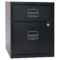 Bisley PFA A4 Mobile Home Filer With 1 Filing U0026 1 Stationery Drawer Black  BY31012