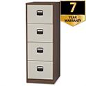 4 Drawer Steel Filing Cabinet Lockable Brown & Cream Trexus By Bisley