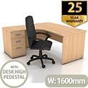 Left Hand Radial Panel End Office Desk With 3 Drawer Desk High Pedestal Beech Bundle Offer