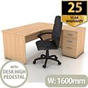 Right Hand Radial Panel End Office Desk With 3 Drawer Desk High Pedestal Beech Bundle Offer