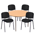 4 X Black Upholstered Stacking Chairs & 1 Round Beech Table Bundle