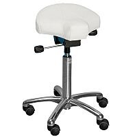 Gamma Easymek Seat Saddle Stool With White Leather Look Seat Upholstery H570 -760mm