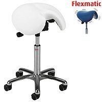Jolly Flexmatic Optimum Adjustment Seat Saddle Stool With White Leather Look Seat Upholstery H570 -760mm