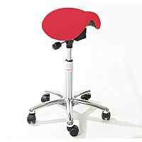 Mini Easymek Seat Saddle Stool With Easy Clean Red 3D Runner Seat Upholstery H570 -760mm