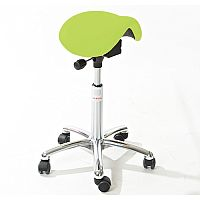 Mini Easymek Seat Saddle Stool With Green Leather Look Seat Upholstery H570 -760mm