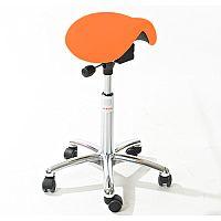 Mini Easymek Seat Saddle Stool With Orange Leather Look Seat Upholstery H570 -760mm