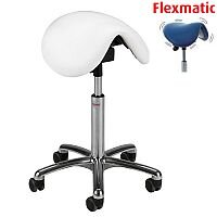 Dalton Flexmatic Optimum Adjustment Seat Saddle Stool With White Leather Look Seat Upholstery H570 -760mm