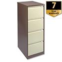 4 Drawer Steel Filing Cabinet Flush Front Brown & Cream Bisley BS4E