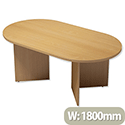 Trexus Boardroom Table D-End Arrow Leg W1800xD1000xH725mm Beech