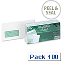 Basildon Bond DL Window Envelopes White Wallet Peel and Seal Pack 100 Recycled Ref D80276