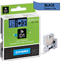 Dymo D1 Tape 45016 12mm x 7m Black on Blue S0720560