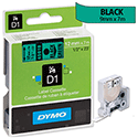Dymo D1 Tape 45019 12mm x 7m Black on Green S0720590