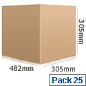 Packing Box Single Wall Strong Flat-packed Internal 482x305x305mm Pack 25 Ambassador