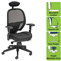 Influx Amaze Mesh Task Chair With Headrest Black