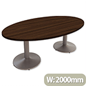 Large Oval Boardroom & Meeting Table W2000xD1200xH735mm Dark Walnut Kito