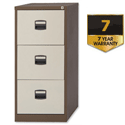 3 Drawer Steel Filing Cabinet Lockable Brown & Cream Trexus By Bisley