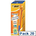 Bic Orange Grip Ballpoint Pen Blue Pack 20