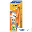 Bic Orange Grip Ballpoint Pen Blue Pack 20
