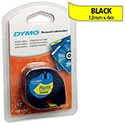 Dymo LetraTag Tape Plastic 91202 12mm x 4m Hyper Yellow S0721620