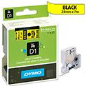 Dymo D1 Tape 53718 24mmx7m Black on Yellow S0720980