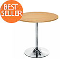 Ellipse Trumpet Base Circular Cafe Table Beech