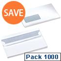 5 Star 90gsm Envelopes DL Window White Wallet Press Seal Pack 1000