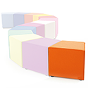 Link Segment Angled Cube Stool Orange