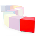 Link Segment Angled Cube Stool Red