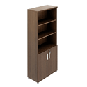Quando Bookcase with Low Level Wood Doors 1993H x 432D x 806W 5 Levels - Chestnut