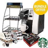 Keurig K150 Coffee Machine & FREE Starbucks & Barista Prima Coffee Pods + 4 Wire Rack + Biscuit Bars