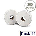 2Work Mini Jumbo Dispenser Toilet Roll 2-Ply 200 Metre 60mm Core Pack of 12 J26200